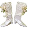 Doll Cobbler White Leather Victorian High Button Boots and Box