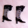 Doll Cobbler Black Striped High Button Boots