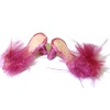 Dolls Cobbler Open Toed Cranberry Feather High Heel Mules