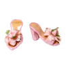 Dolls Cobbler Handmade Pink Flowered Mules