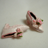 Dolls Cobbler Pink Slipper Pumps with Roses
