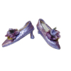 Dolls Cobbler Purple Slipper Pumps with Roses