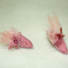 Dolls Cobbler Pink Satin Feathered Mules