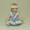 Porcelain Toddler Girl Doll in Blue Crisscross Dress
