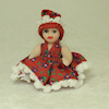 Porcelain Toddler Girl Doll in Red Pom Poms Trim Dress