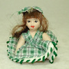 Porcelain Toddler Girl Doll in Green Plaid Dress