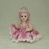 Porcelain Toddler Girl Doll in Pink Pom Poms Trim Dress