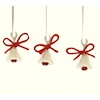 Pearly White Bells with Red Bows Christmas Ornaments