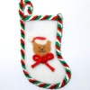 Handcrafted White Teddy Bear Christmas Stocking