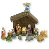 Handpainted 12 Piece Nativity Creche Set and Wood Stable