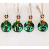 Green Glass Speckled Christmas Ball Ornaments