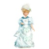 Porcelain Victorian Lady in Blue Satin Dress and Hat