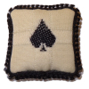 Handcrafted Embroidered Spade Pillow for Bridge Card Room