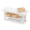 Modern White Wood Table With Woven Storage Baskets