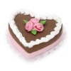 Large Valentine Chocolate Heart Cake with Pink Roses