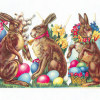 Antique Victorian German Die Cut Easter Rabbit Scrap Lei Right