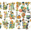 Antique Chromolithograph German Die Cuts Scrap Children at Party