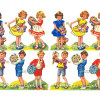 Antique Chromolithograph English Die Cuts Scrap Girls & Boys