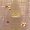 White Corner Shower with Lace Shower Curtain