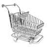 Silver Metal Grocery Shopping Cart with Turning Wheels