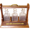 Ferenc Albert Wood Tantalus with Cut Glass Decanters