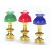 Colorful Brass Lamp with Blue Shade