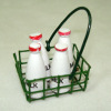 Milk Bottles in a Metal Basket