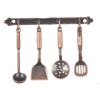 Antiqued Metal Kitchen Utensil Set with Wall Rack