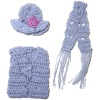 Wearable Hand Knitted Gray Hat Scarf and Vest Set
