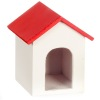 White Wood Dog House With Red Roof