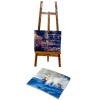 Wood Easel and Pictures Set