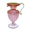 Hand Blown Ribbed Cranberry Glass Pitcher by Phil Grenyer