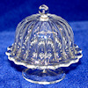 Ribbed Clear Glass Cakestand with Dome by Phil Grenyer