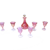 Hand Blown Phil Grenyer Cranberry Decanter with Six Glasses