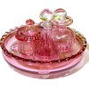 Hand Blown Phil Grenyer Cranberry Glass Vanity Set