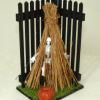 Handcrafted Halloween Fence Scene with Skeleton