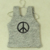 Handcrafted Peace Sign Tee Shirt on Hanger