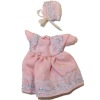 Heidi Ott Wearable Pink Silk Baby Outfit Dress and Bonnet
