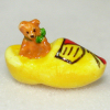 Tiny Handcrafted Wood Teddy Bear In a Dutch Shoe