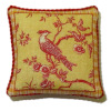 Artisan Bird in Tree Red Toile Pillow with Piping