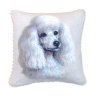 Artisan White Poodle Dog Pillow with Piping
