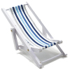 Blue & White Stripe Wood Canvas Folding Lounge Beach Chair