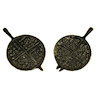 Antique Style Two Piece Metal Waffle Iron