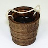 Handcrafted Aged Wood Bucket with Water