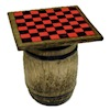 Handcrafted Aged Checkerboard on Rustic Wood Barrel