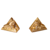 Hand Painted Gold Egyptian Sphynx and Pyramid Bookends