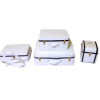White Faux Leather Luggage Suitcase Set