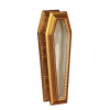 Opening Satin Lined Glass Top Carved Gold Coffin