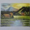 Jeannetta Kendall Oil Painting On Canvas - Cabin By The Lake