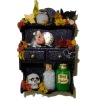 Filled Halloween Wall Shelf with Potion Mouse and Skull